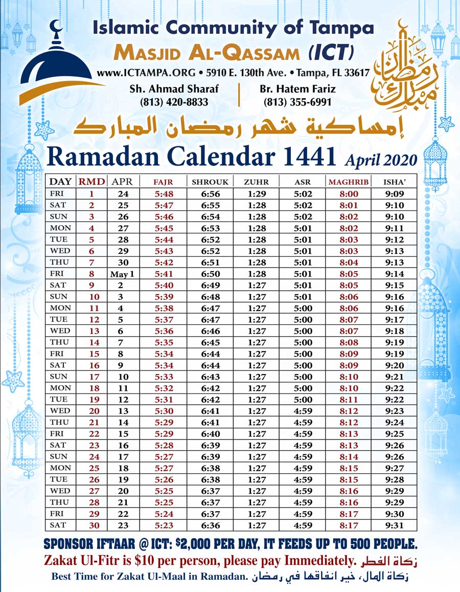Tampa Ramadan Calendar 2020